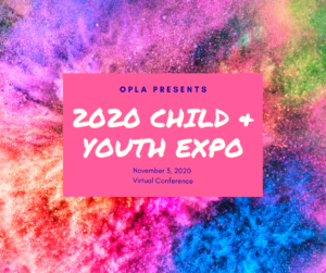A Save-The-Date image that indicates the Child & Youth Expo will take place online on November 3, 2020.